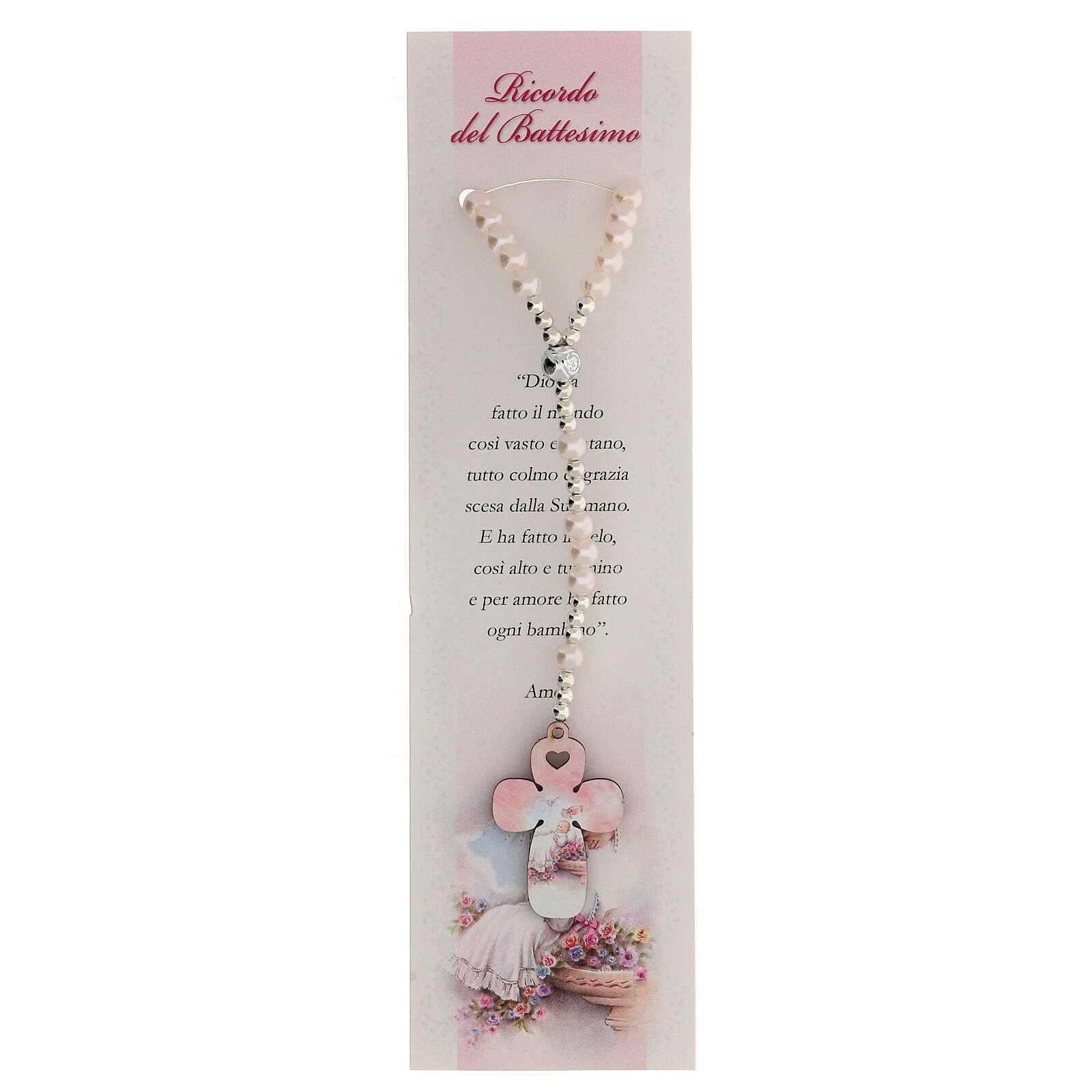 Recuerdo Bautismo con rosario elástico y oración italiano rosa 3