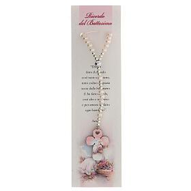 Recuerdo Bautismo con rosario elástico y oración italiano rosa s1