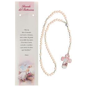 Recuerdo Bautismo con rosario elástico y oración italiano rosa s2