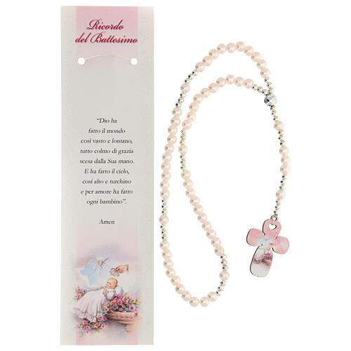 Recuerdo Bautismo con rosario elástico y oración italiano rosa 2