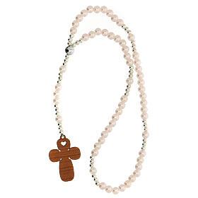 Ricordo Battesimo con rosario elasticizzato e preghiera italiano rosa s3
