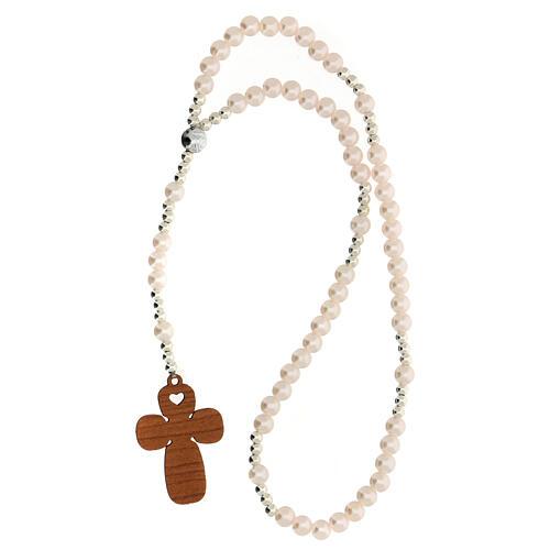 Ricordo Battesimo con rosario elasticizzato e preghiera italiano rosa 3