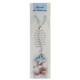 Blue pearl glass rosary with Italian prayer for Baptism s1