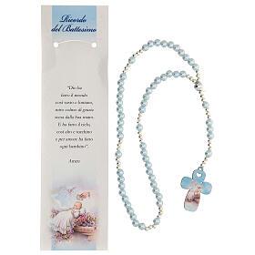 Rosario vidrio perlado azul con oración italiano para Bautismo s2