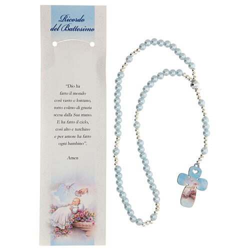 Rosario vidrio perlado azul con oración italiano para Bautismo 2