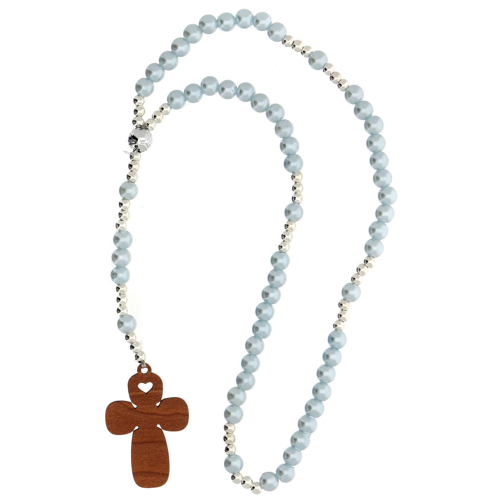 Rosario vetro perlato azzurro con preghiera italiano per Battesimo 3