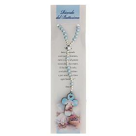 Rosario vetro perlato azzurro con preghiera italiano per Battesimo s1