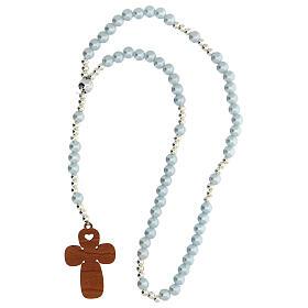 Rosario vetro perlato azzurro con preghiera italiano per Battesimo s3