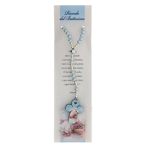 Rosario vetro perlato azzurro con preghiera italiano per Battesimo 1