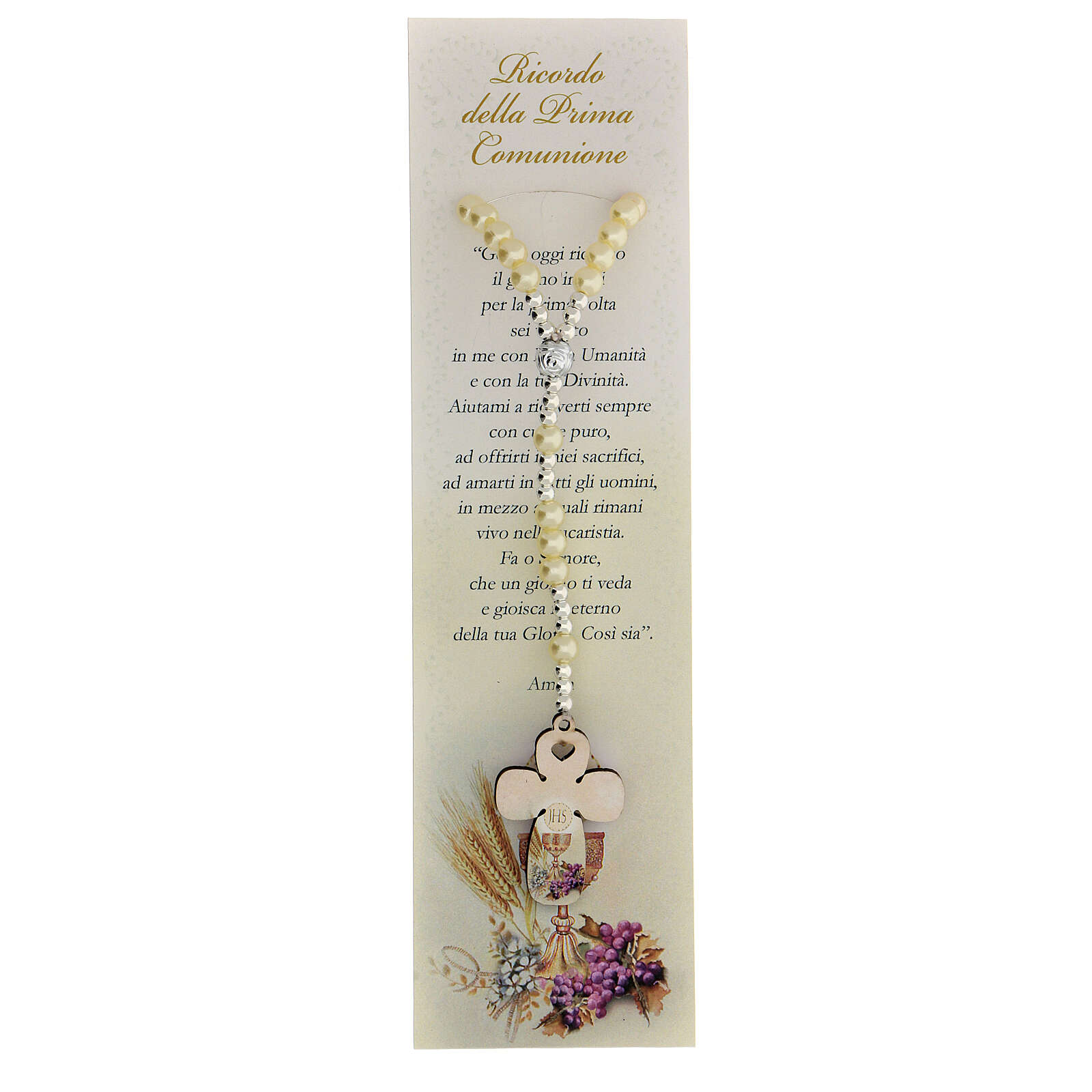 Communion favour, elastic rosary in pearl glass and prayer 3