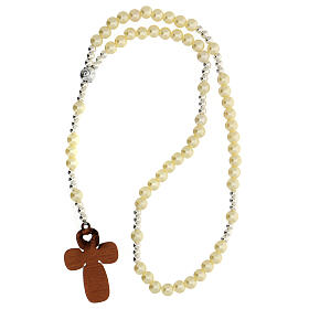 Communion favour, elastic rosary in pearl glass and prayer s3