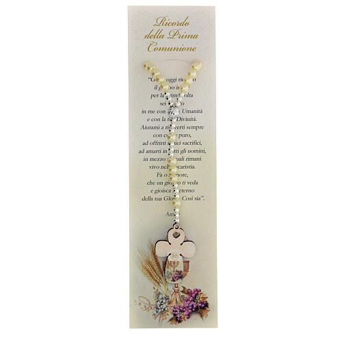 Communion favour, elastic rosary in pearl glass and prayer 1