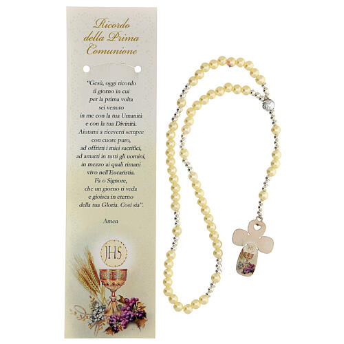 Communion favour, elastic rosary in pearl glass and prayer 2