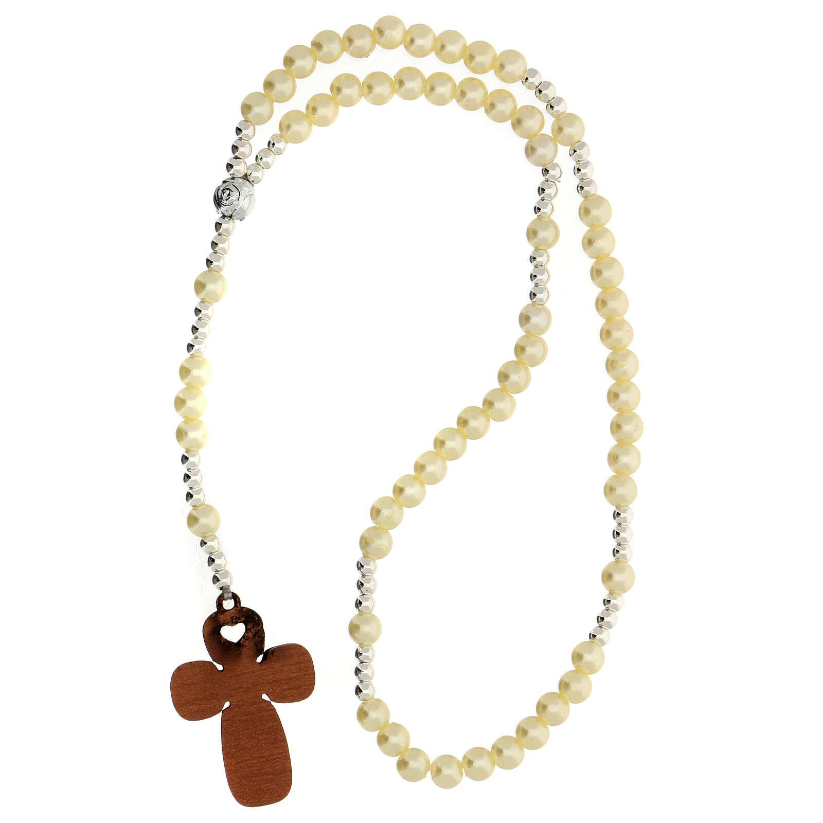 Recuerdo Comunión rosario elástico vidrio perlado y oración 3