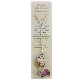 Recuerdo Comunión rosario elástico vidrio perlado y oración s1