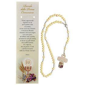Recuerdo Comunión rosario elástico vidrio perlado y oración s2