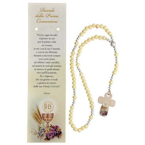 Recuerdo Comunión rosario elástico vidrio perlado y oración 2