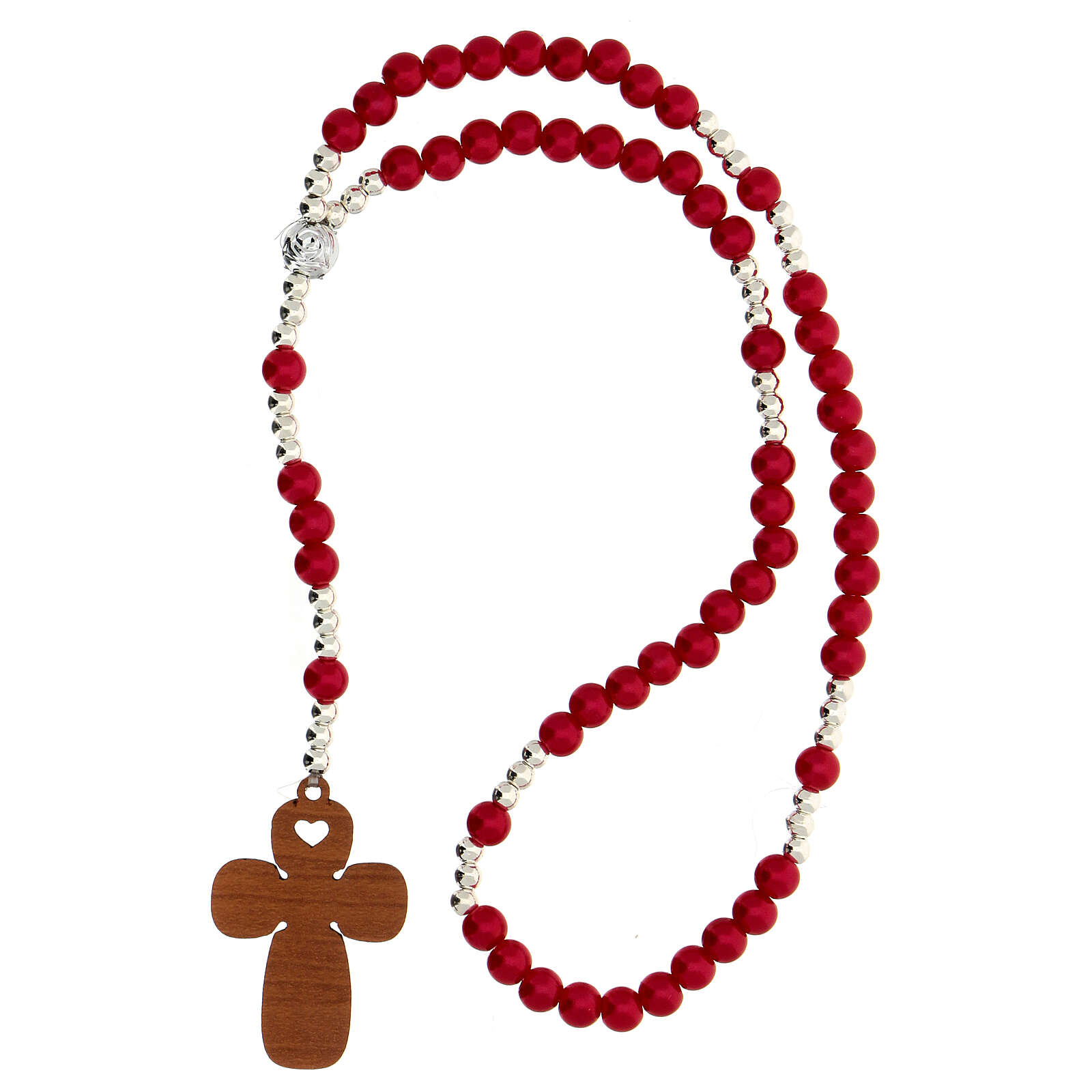 Confirmation Favour, red pearl glass elastic rosary and prayer 3