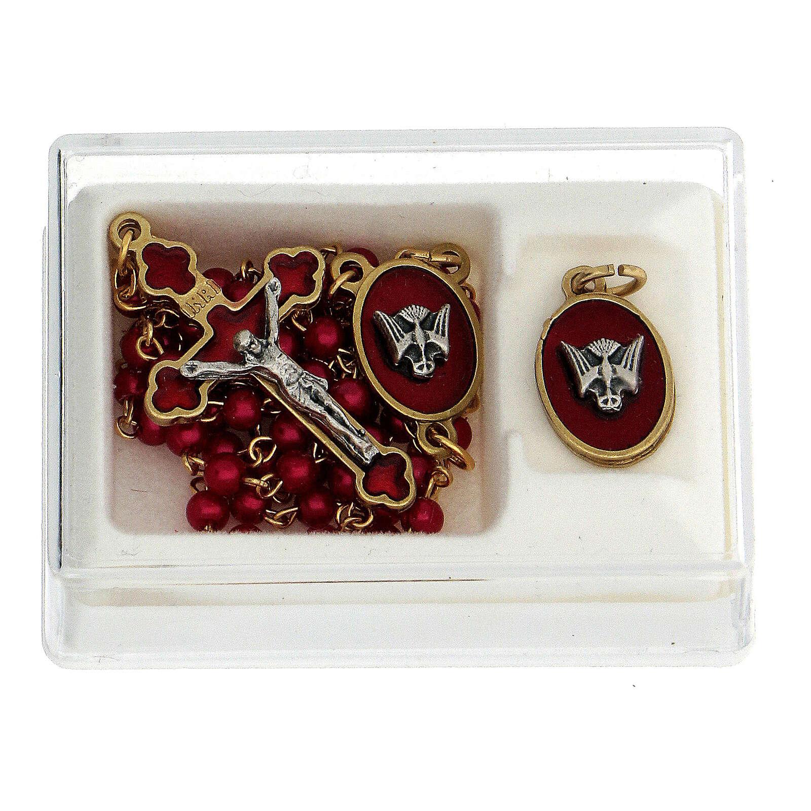 Set recuerdo Confirmación rosario dorado granos vidrio rojos 3