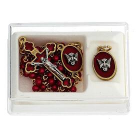 Set recuerdo Confirmación rosario dorado granos vidrio rojos s1