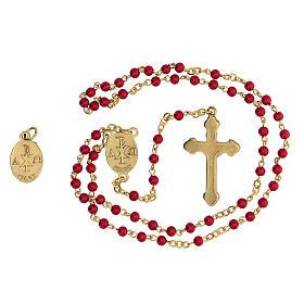Set recuerdo Confirmación rosario dorado granos vidrio rojos s3