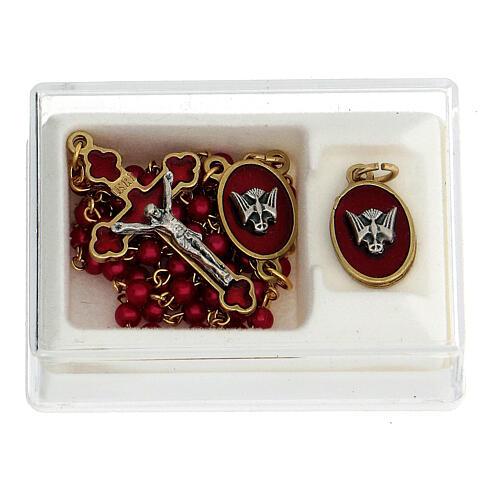 Set recuerdo Confirmación rosario dorado granos vidrio rojos 1