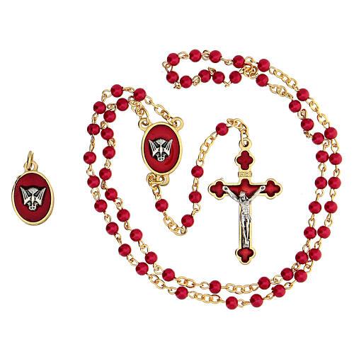 Set recuerdo Confirmación rosario dorado granos vidrio rojos 2