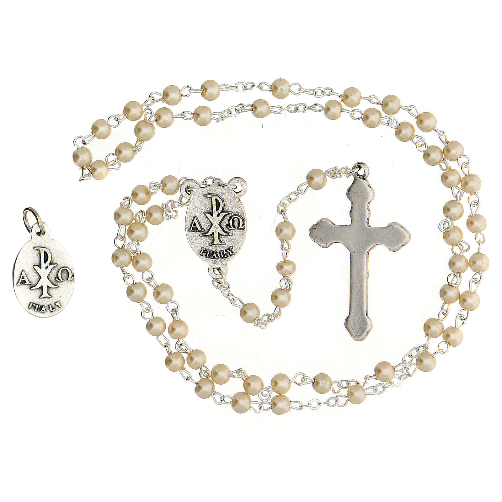 Communion souvenir set, golden rosary and pearl glass beads 3
