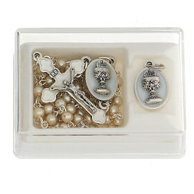 Communion souvenir set, golden rosary and pearl glass beads s1