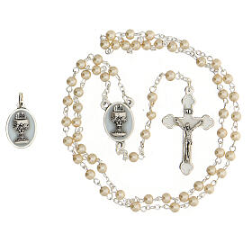 Communion souvenir set, golden rosary and pearl glass beads s2