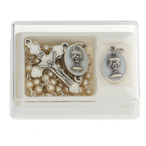 Communion souvenir set, golden rosary and pearl glass beads 1