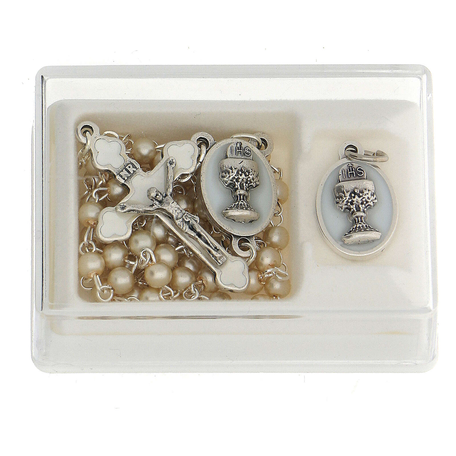 Set recuerdo Comunión rosario dorado y granos vidrio perlado 3