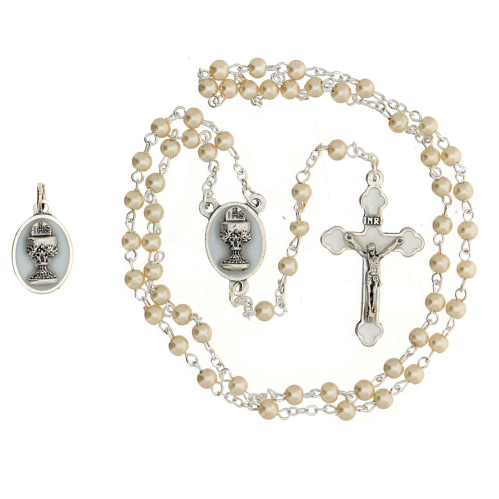 Set souvenir Communion chapelet argenté et grains verre nacré 3