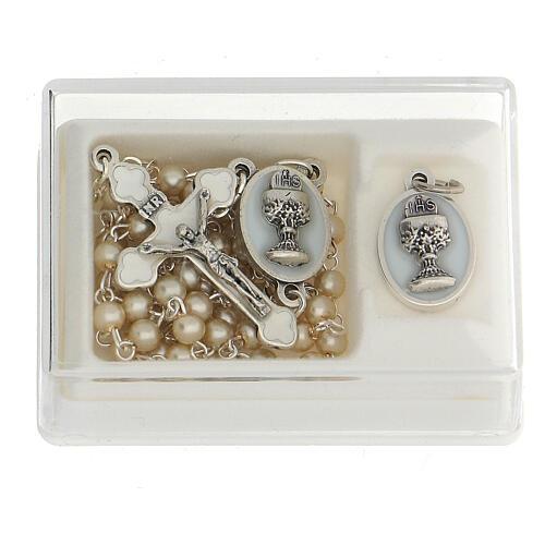 Set souvenir Communion chapelet argenté et grains verre nacré 1
