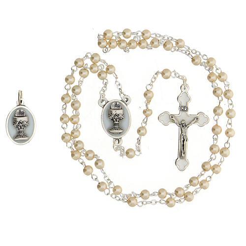 Set souvenir Communion chapelet argenté et grains verre nacré 2