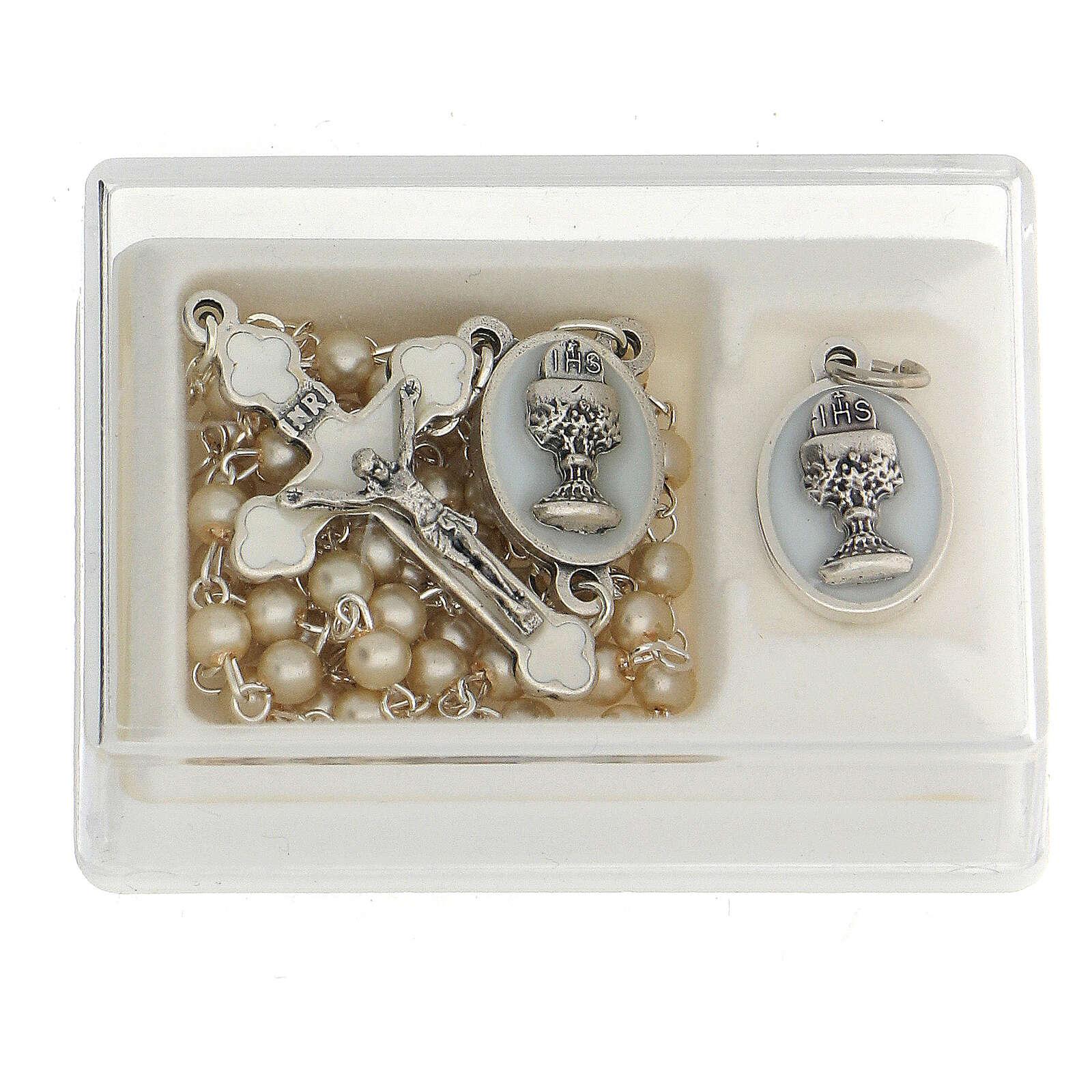 Set ricordo Comunione rosario dorato e grani vetro perlato 3