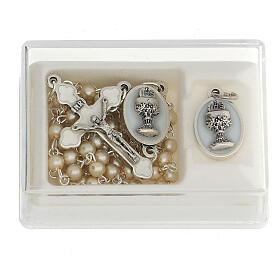 Set ricordo Comunione rosario dorato e grani vetro perlato s1