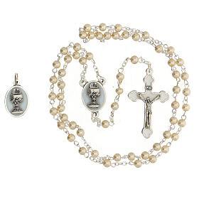 Set ricordo Comunione rosario dorato e grani vetro perlato s2