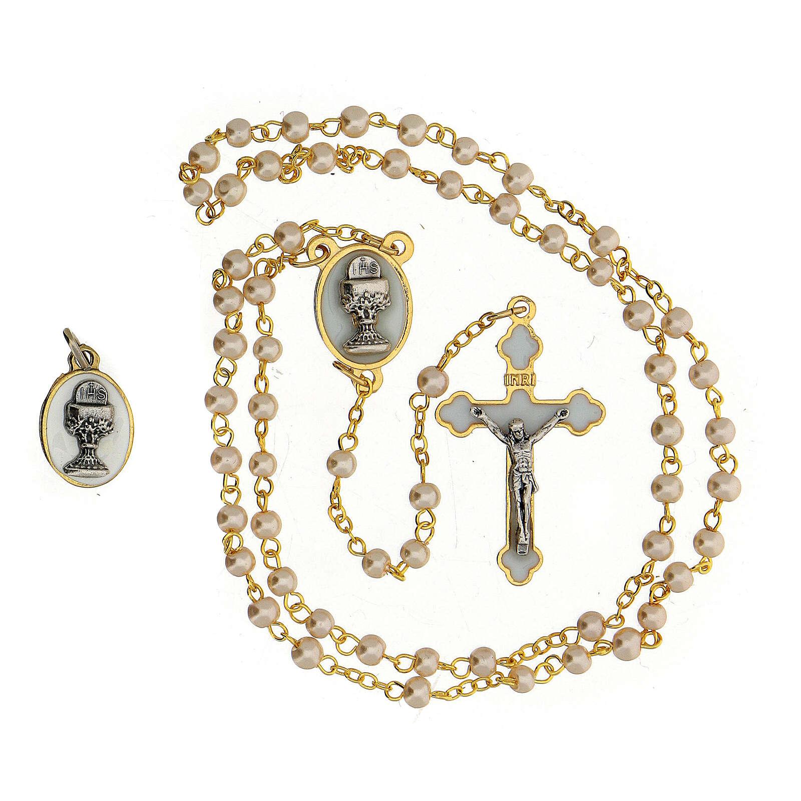 Set recuerdo Comunión con rosario dorado y vidrio perlado 3