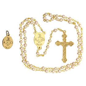 Set recuerdo Comunión con rosario dorado y vidrio perlado s3