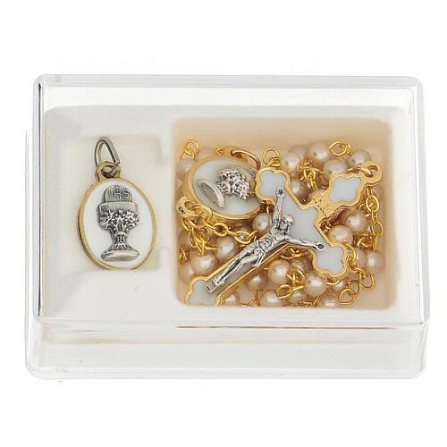 Set recuerdo Comunión con rosario dorado y vidrio perlado 1