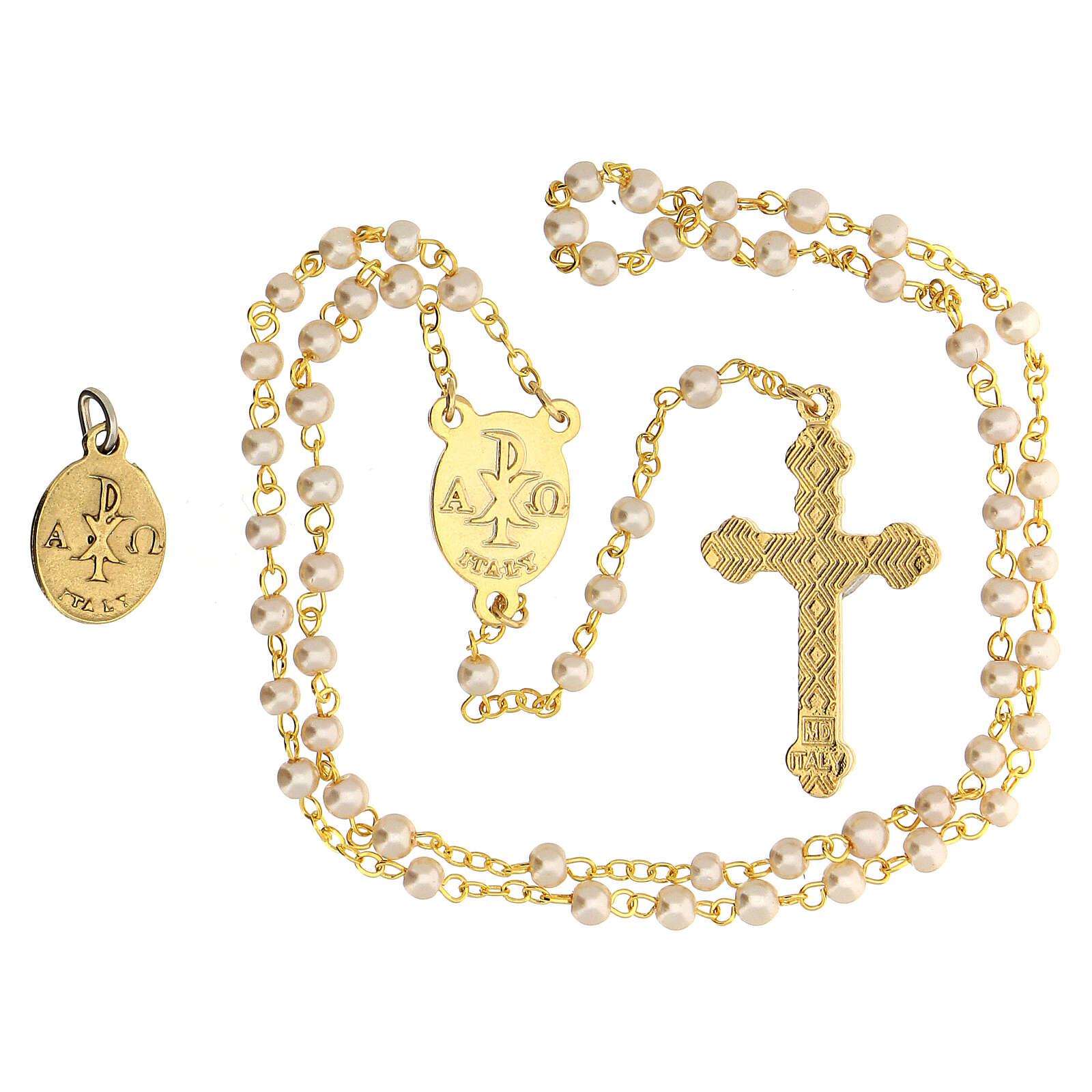 Set souvenir Communion avec chapelet doré et verre nacré 3