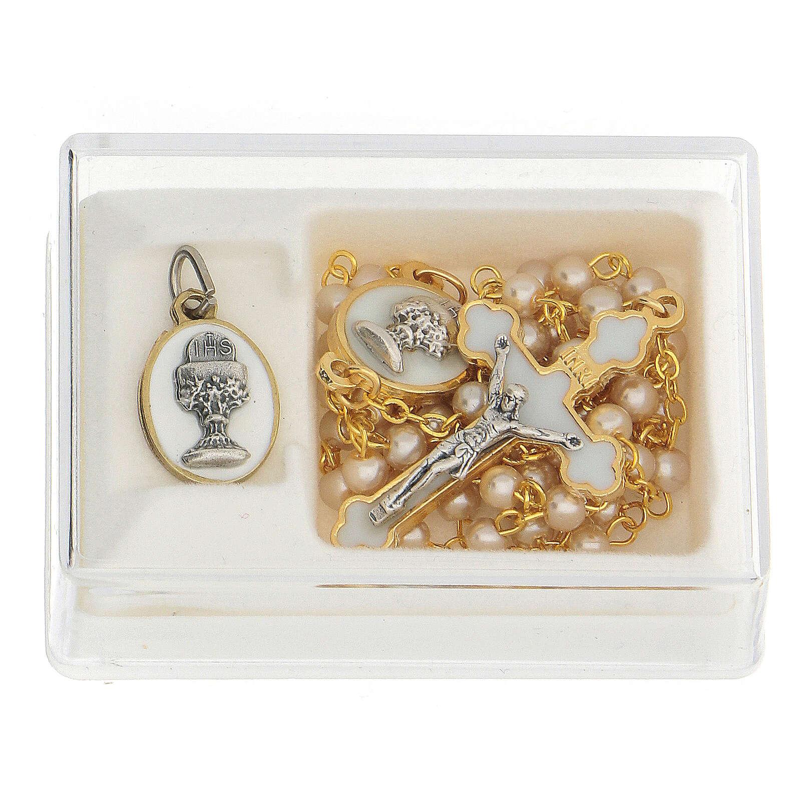 Set ricordo Comunione con rosario dorato e vetro perlato 3