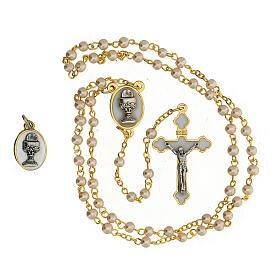 Set ricordo Comunione con rosario dorato e vetro perlato s2