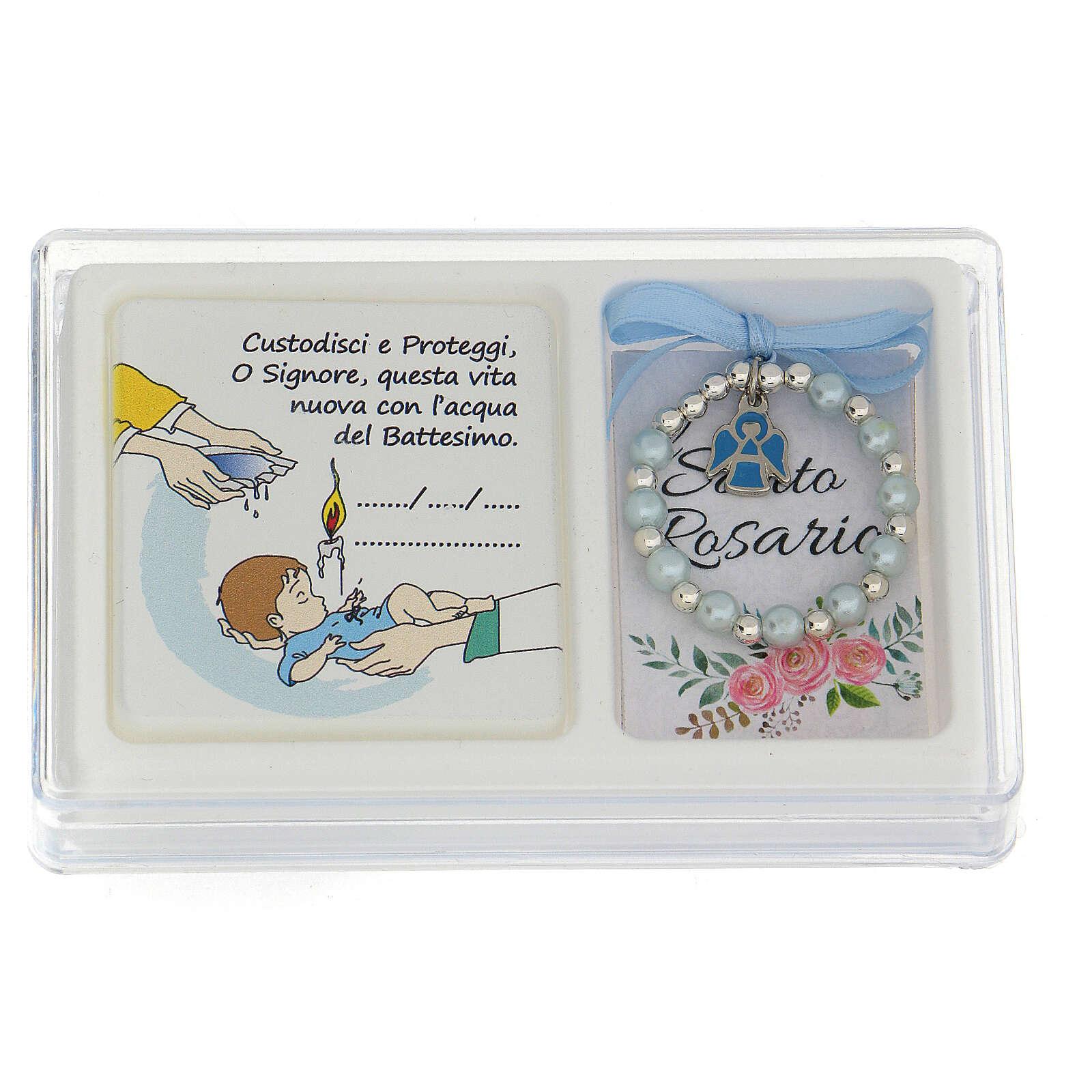 Cofanetto ricordo Battesimo bimbo decina quadretto e libretto rosario 3