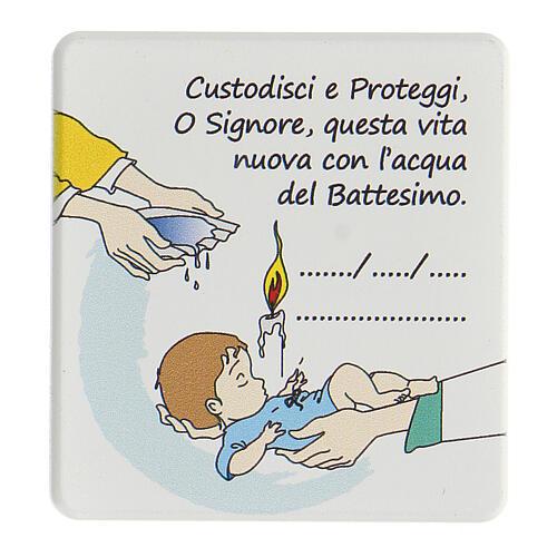 Cofanetto ricordo Battesimo bimbo decina quadretto e libretto rosario 4