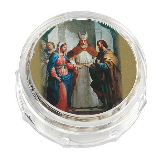 Recuerdo boda rosario plateado y alianzas 4