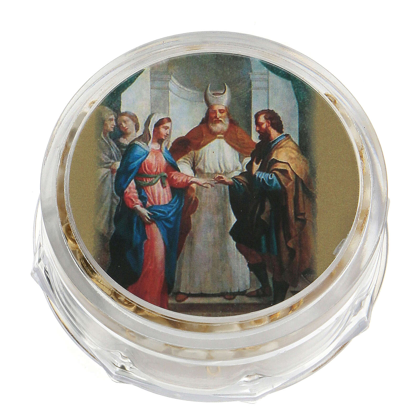 Recuerdo boda rosario con alianzas dorado 3
