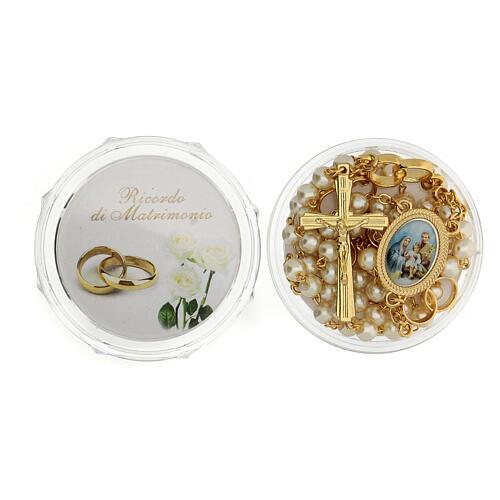 Recuerdo boda rosario con alianzas dorado 1