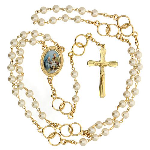 Recuerdo boda rosario con alianzas dorado 2